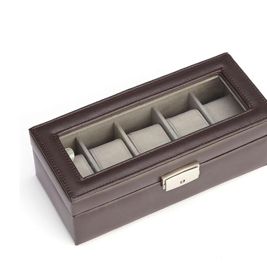 royce leather 5 slot watch box