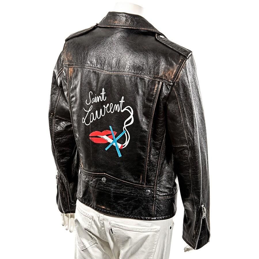f24c31bd5d Saint Laurent Men's Classic Motorcycle Jacket in Leather - Black/ Size 48