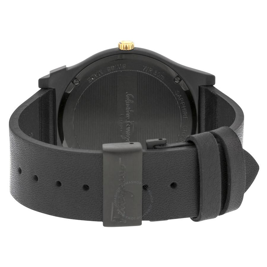 Salvatore ferragamo 1898 black ceramic case black leather strap watch men 39 s watch fq3020013 for Black leather strap men