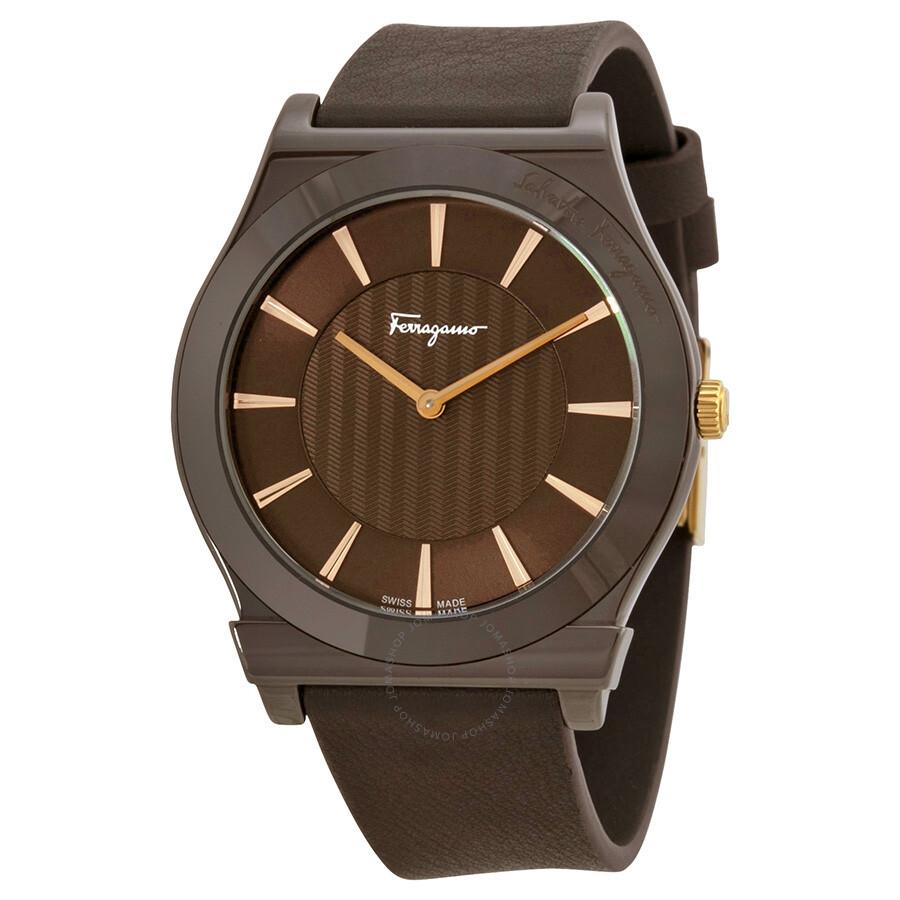 3a99ce29d3c Salvatore Ferragamo 1898 Brown Ceramic Case Brown Leather Strap Watch Men's  Watch FQ3030013 ...
