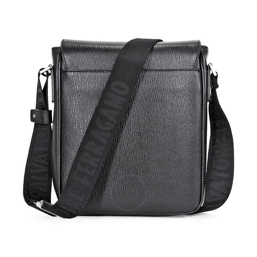 Salvatore Ferragamo Calfskin Leather Messenger Bag - Black ... 08021e9e0658f
