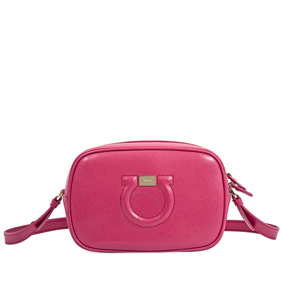 c61d063599 Salvatore Ferragamo Gancini Leather Camera Bag- Begonia Item No. 21H0060  691325
