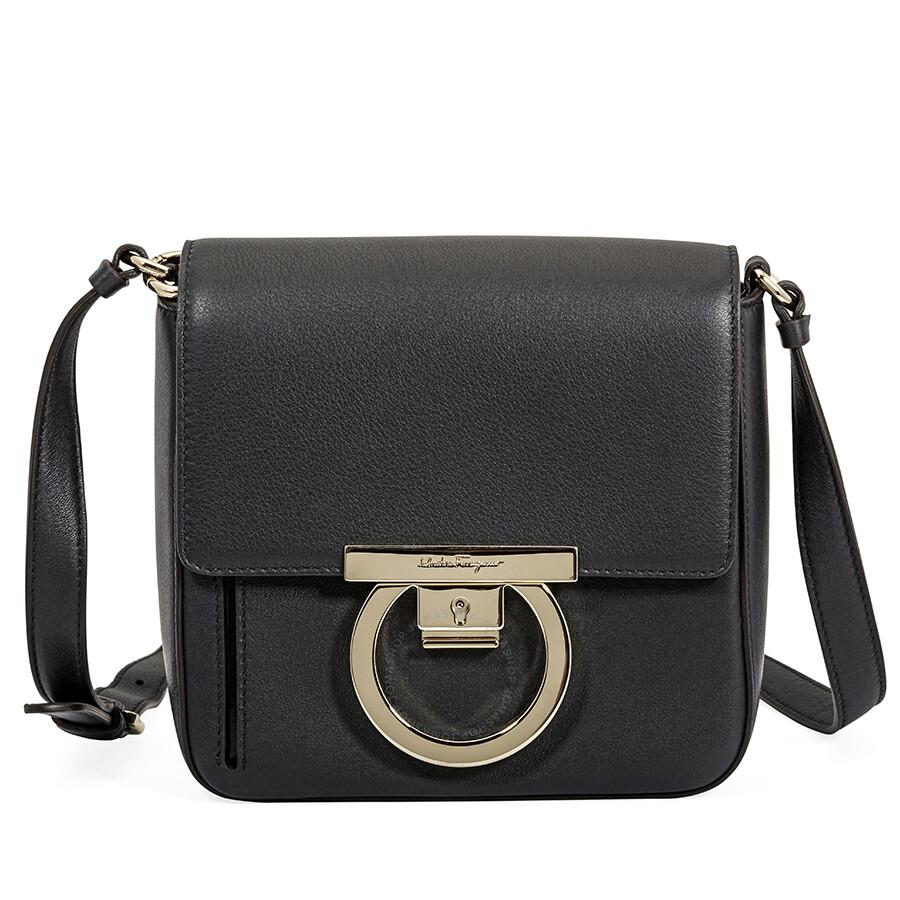 Salvatore Ferragamo Gancio Lock Leather Crossbody Bag- Black Item No.  21H0040 691131 9c6a2ae77cd93