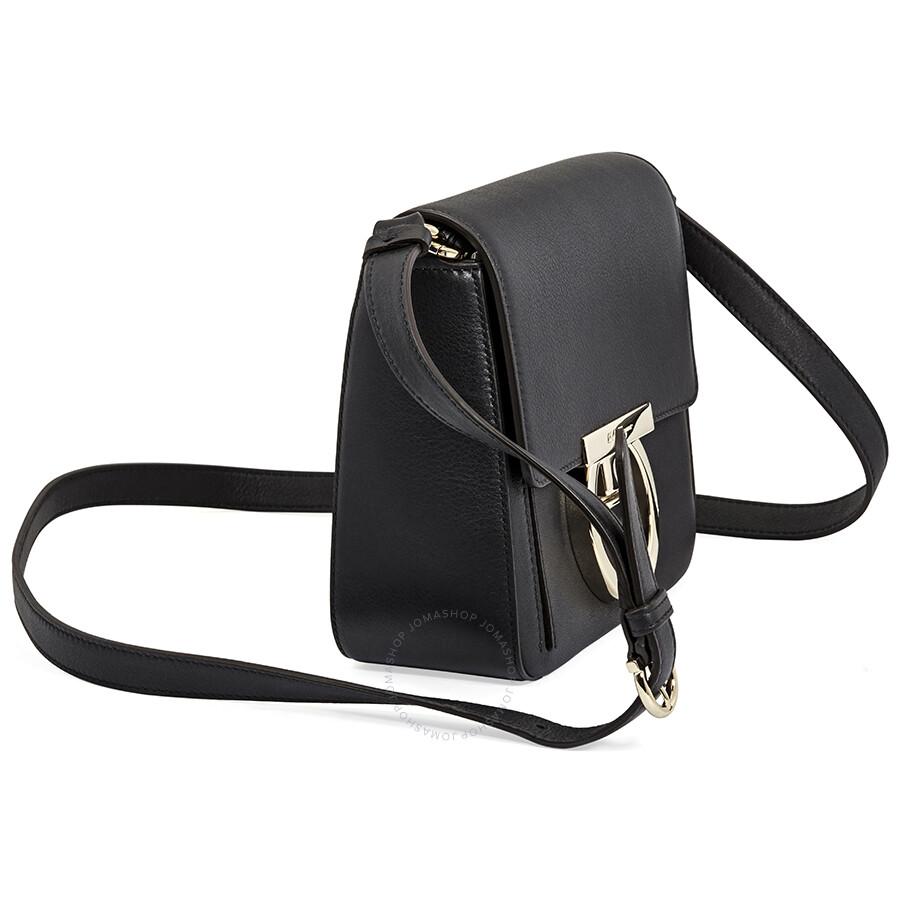 Salvatore Ferragamo Gancio Lock Leather Crossbody Bag- Black ... cc49262536e94