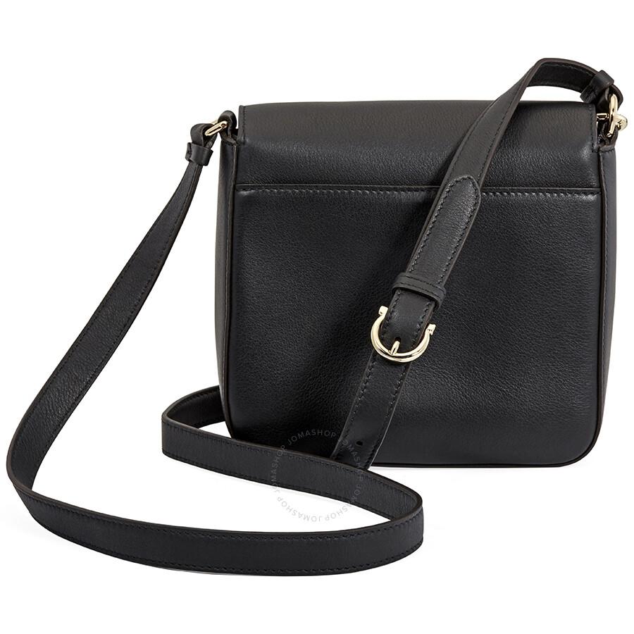 Salvatore Ferragamo Gancio Lock Leather Crossbody Bag- Black ... 13ef337d095d6