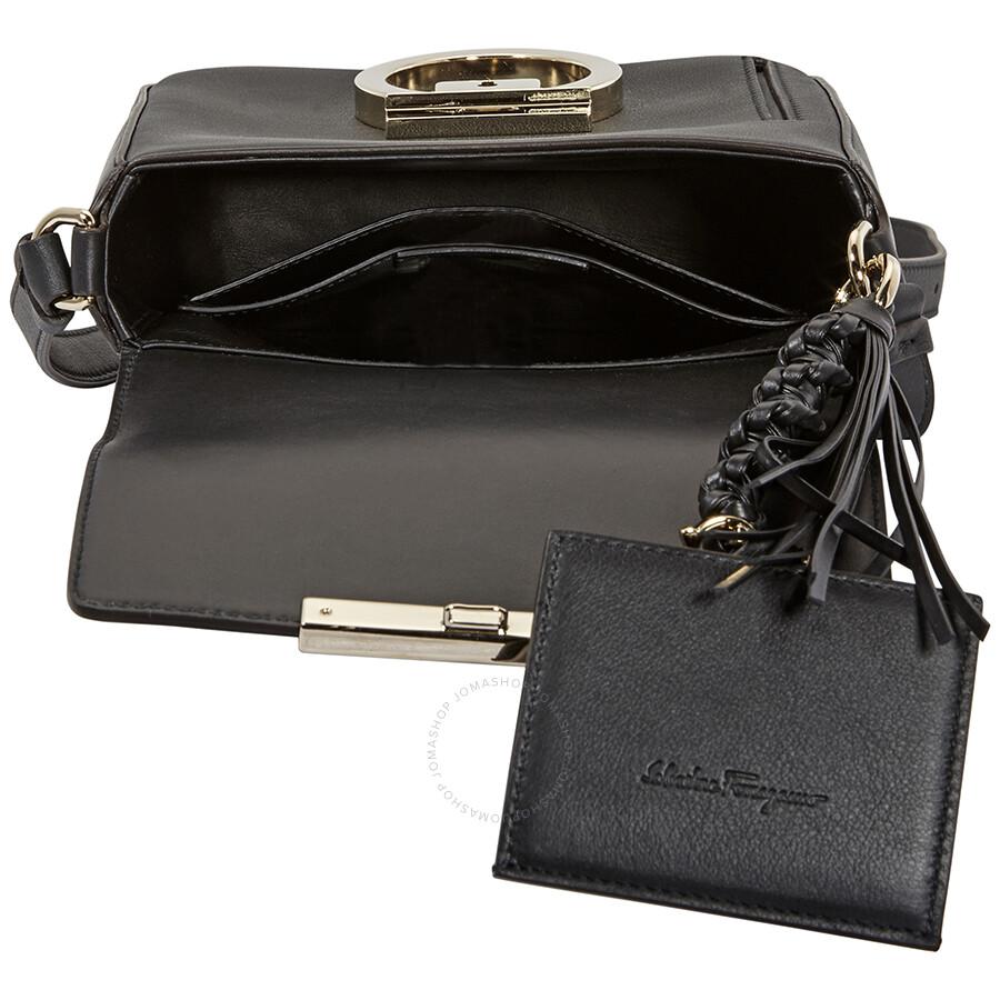 Salvatore Ferragamo Gancio Lock Leather Crossbody Bag- Black ... 9a7fbdf6c2a88