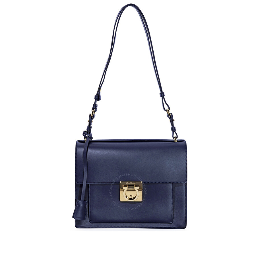 14176476ad Salvatore Ferragamo Marisol Leather Shoulder Bag- Navy - Salvatore ...
