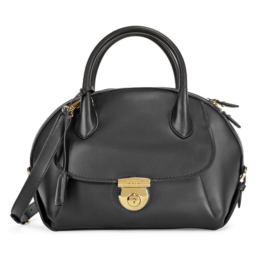 Ferragamo Medium Fiamma Leather Satchel - Black - Salvatore ... 86da52c8463b3