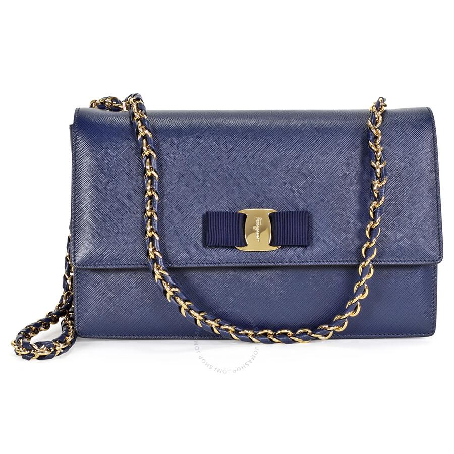 c4fdb444d45 Salvatore Ferragamo Medium Vara Flap Bag - Oxford Blue - Salvatore ...