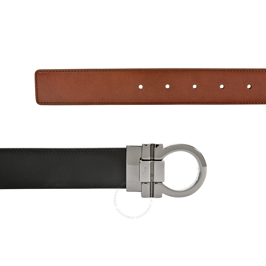 salvatore ferragamo reversible leather belt brown and