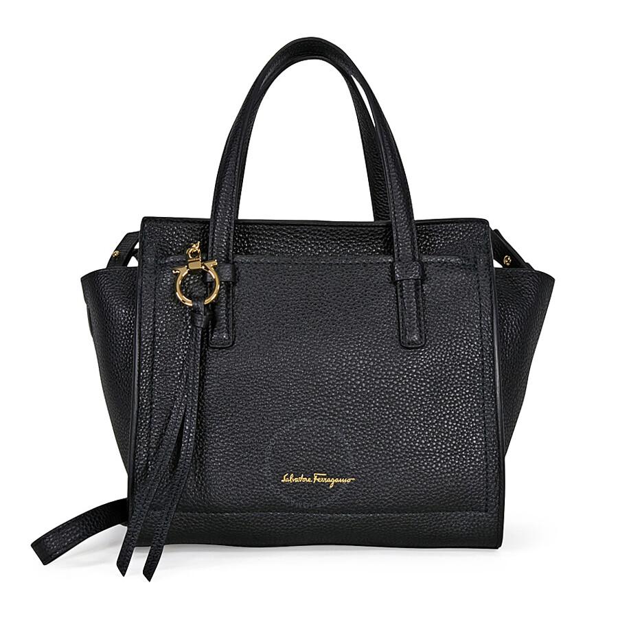 8ee6ba5fc5 Salvatore Ferragamo Small Pebbled Leather Tote - Black - Salvatore ...