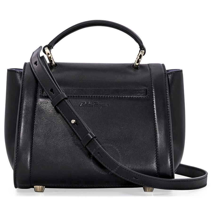 e0fb9cfc96aa Salvatore Ferragamo Sofia Rainbow Leather Crossbody Bag- Black ...