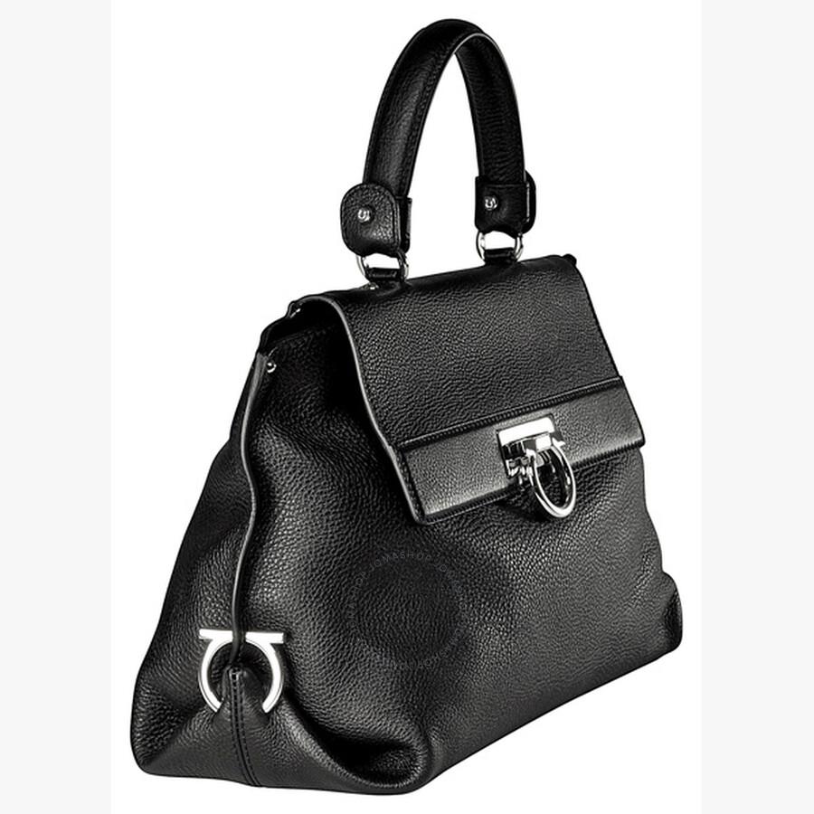 Salvatore Ferragamo Sophia Black Pebble Leather Handbag A896 419509