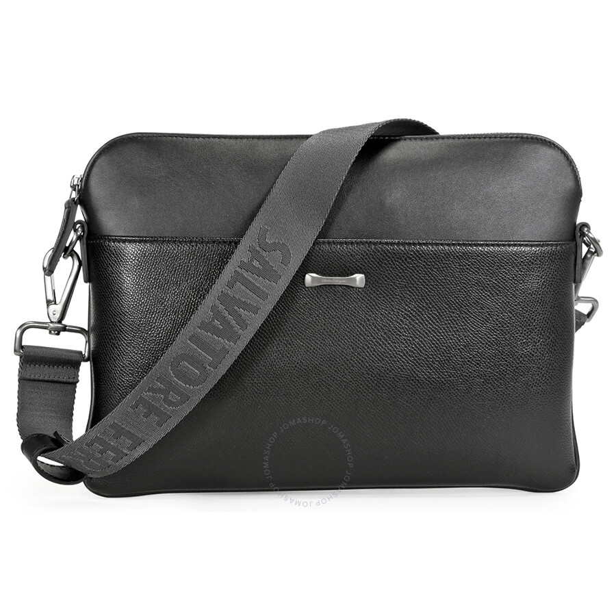 Salvatore Ferragamo Textured Leather Men s Messenger Bag - Black ... 40b5f5bc80e0c