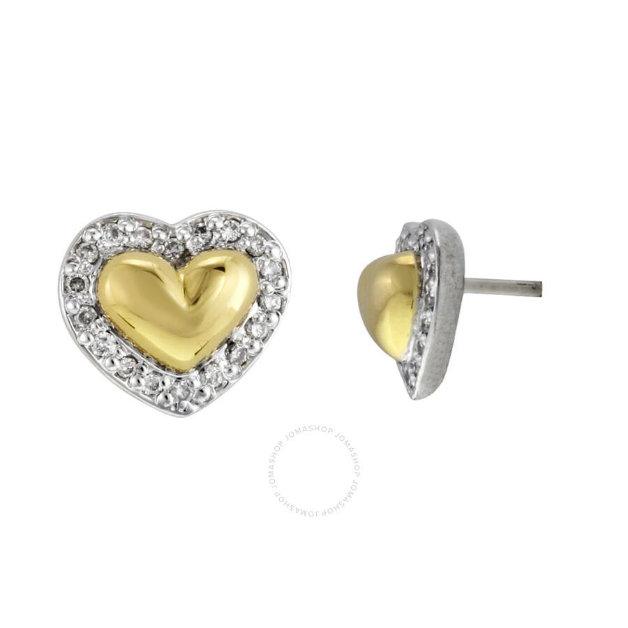 Scott Kay Platinum Five Diamond 0 18ct Wedding Band: Scott Kay Sterling Silver 0.18ct Diamond And Gold Heart