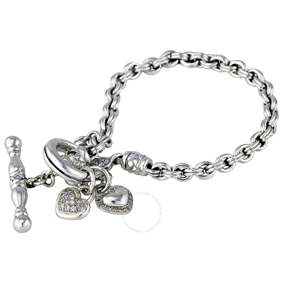 Scott Kay Sterling Silver Toggle Heart 0 4ct Diamond Bracelet
