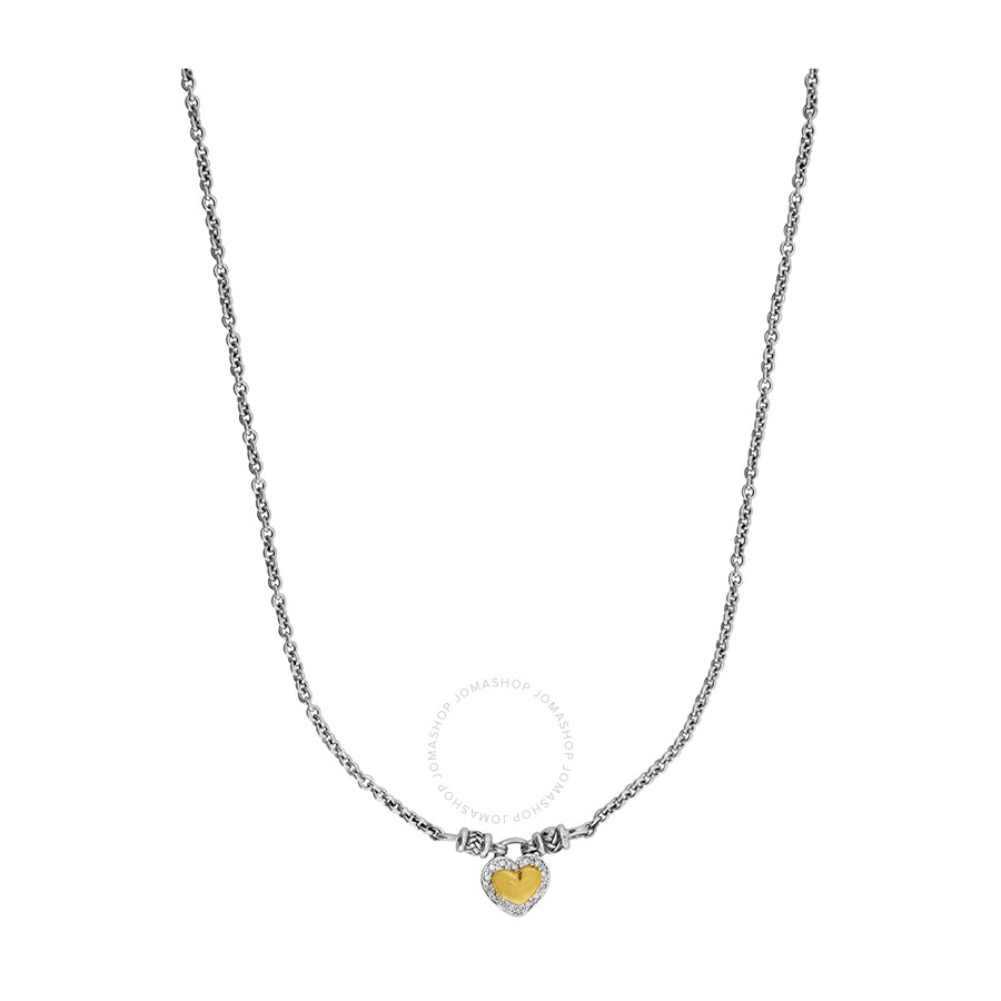 67a60416ada43 Scott Kay Sterling Silver Yellow Gold and Diamond Heart Stud Necklace  N1057TPADM17