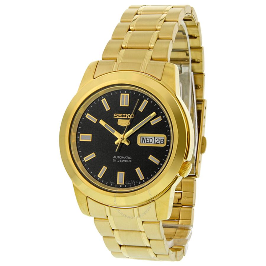cdbac006c ... Seiko 5 Automatic Black Dial Yellow Gold-tone Men's Watch SNKK22 ...