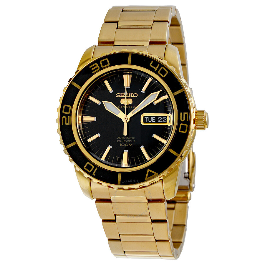 Seiko 5 automatic black dial gold tone men 39 s watch snzh60 stainless steel seiko watches for Watches gold