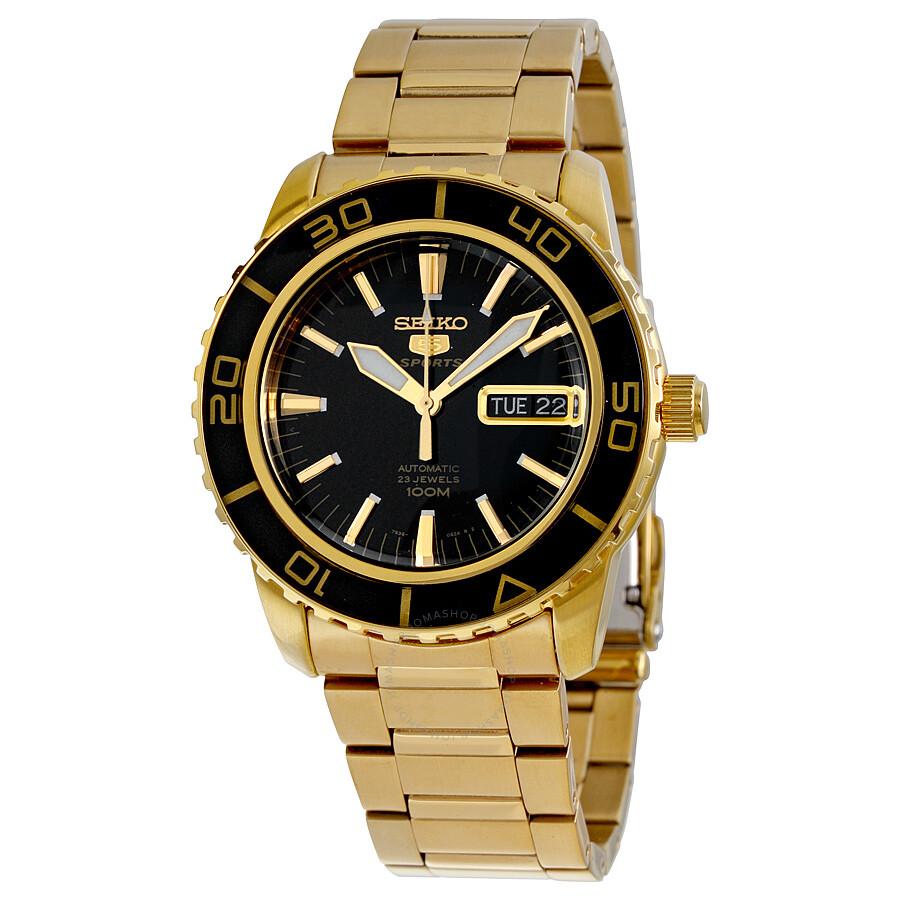 seiko 5 automatic black gold tone s snzh60