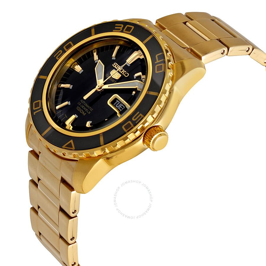 f4a4a537c ... Seiko 5 Automatic Black Dial Gold-tone Men's Watch SNZH60 ...