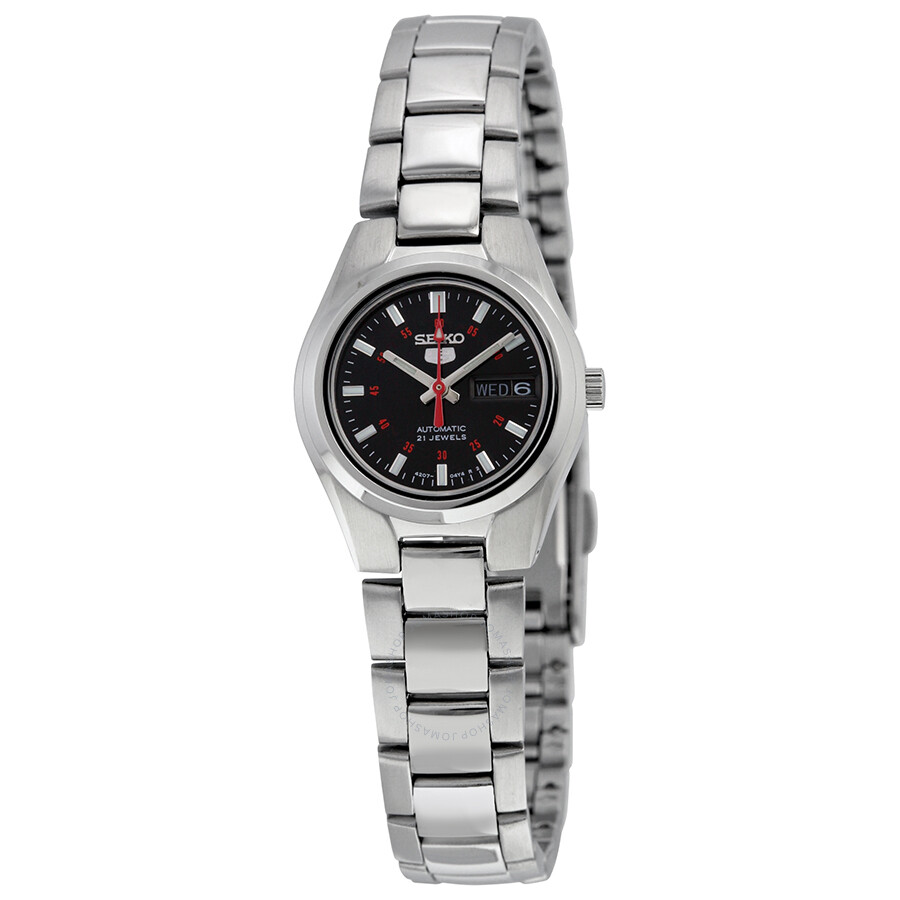 1a3355d13db8 Seiko 5 Automatic Black Dial Stainless Steel Ladies Watch SYMC27 ...