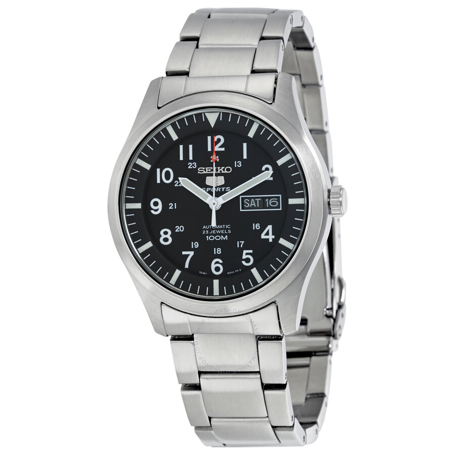seiko 5 automatic black dial stainless steel men 39 s watch snzg13 stainless steel seiko