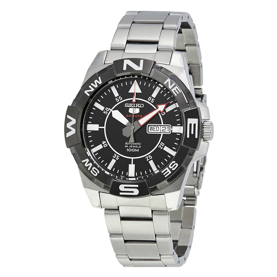 seiko 5 automatic black dial stainless steel men s watch srpa65