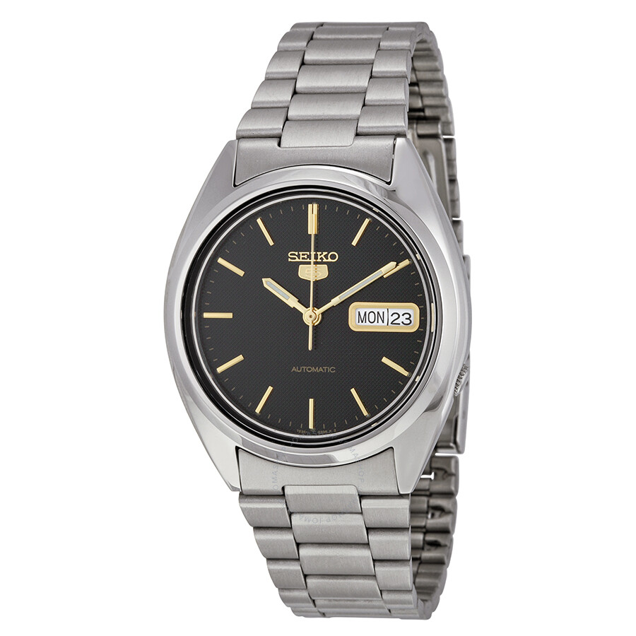 seiko 5 black stainless steel automatic s