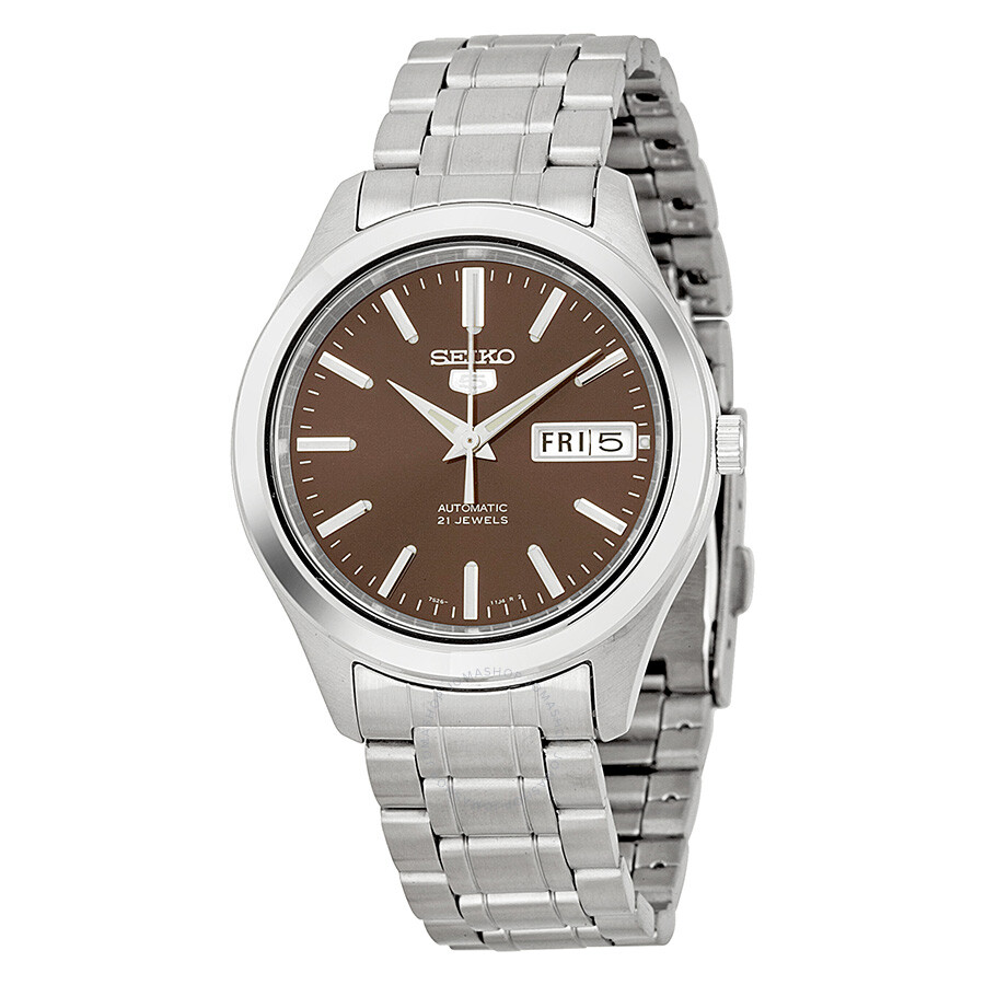 Seiko automatic brown dial stainless steel men s watch