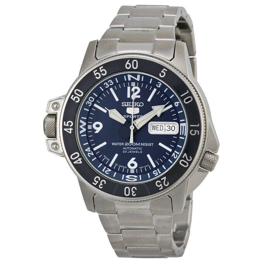 3e882211b Seiko 5 Automatic Compass Dark Blue Dial Stainless Steel Men's Watch  SKZ209J1
