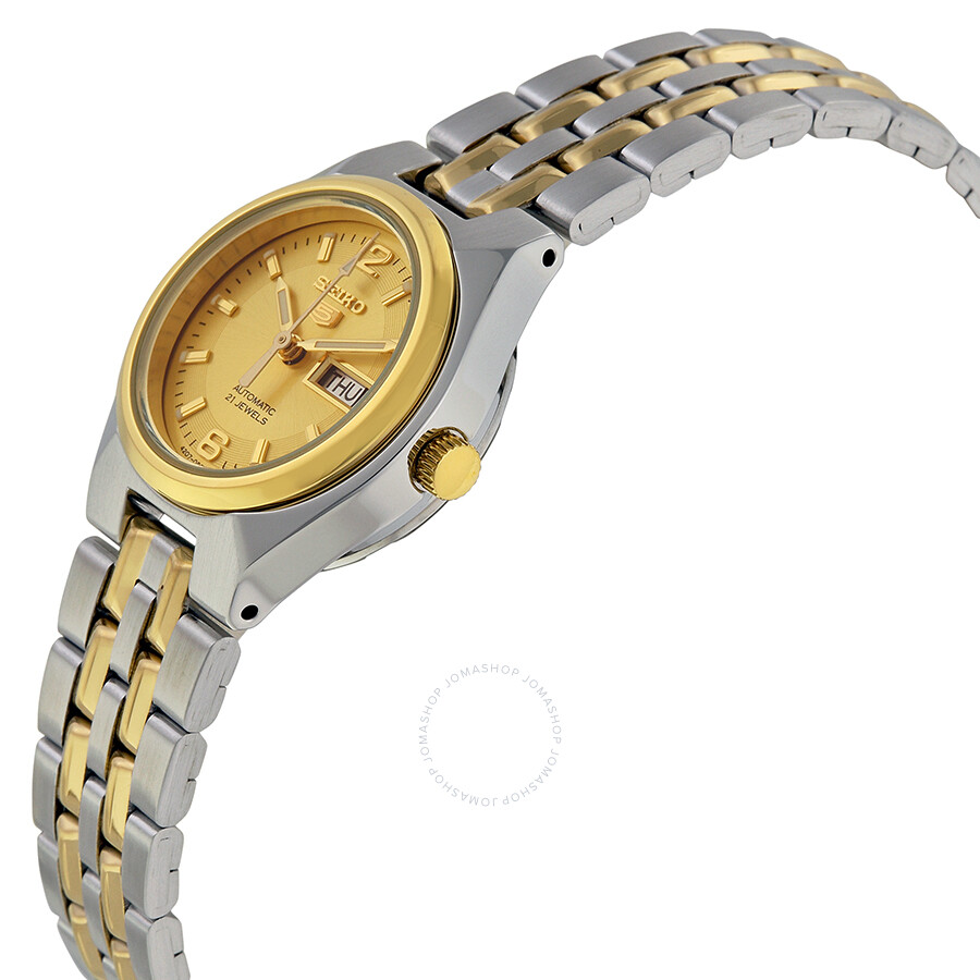 Seiko 5 automatic gold dial two tone ladies watch symk34 seiko 5 seiko watches jomashop for Gold dial ladies watch