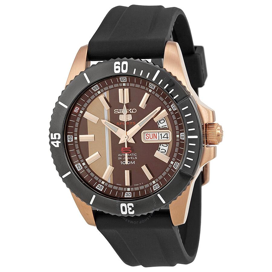 3155c2f99 Seiko 5 Automatic Rose Dial Black Rubber Men's Watch SRP430 - Seiko ...