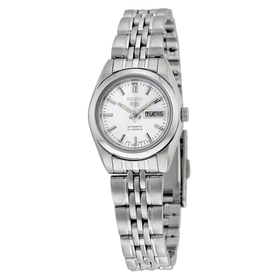 4ec41f692 Seiko 5 Automatic Silver Dial Stainless Steel Ladies Watch SYMA27 ...