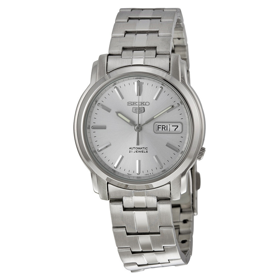 249feb331 Seiko 5 Automatic Silver Dial Stainless Steel Men's Watch SNKK65 ...