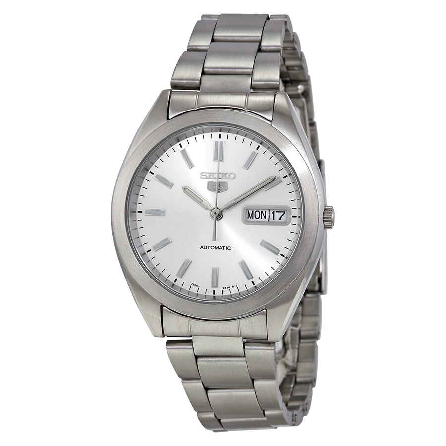 Seiko 5 automatic silver dial stainless steel men 39 s watch snx993 stainless steel seiko for Stainless watches