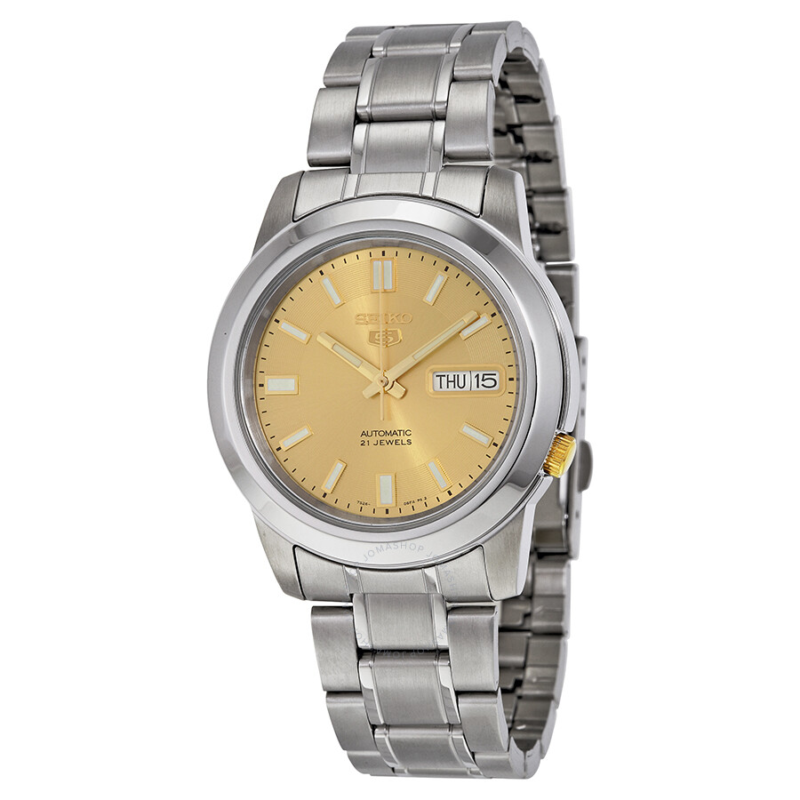78184b77b Seiko 5 Automatic Stainless Steel Gold Dial Men's Watch SNKK13 ...