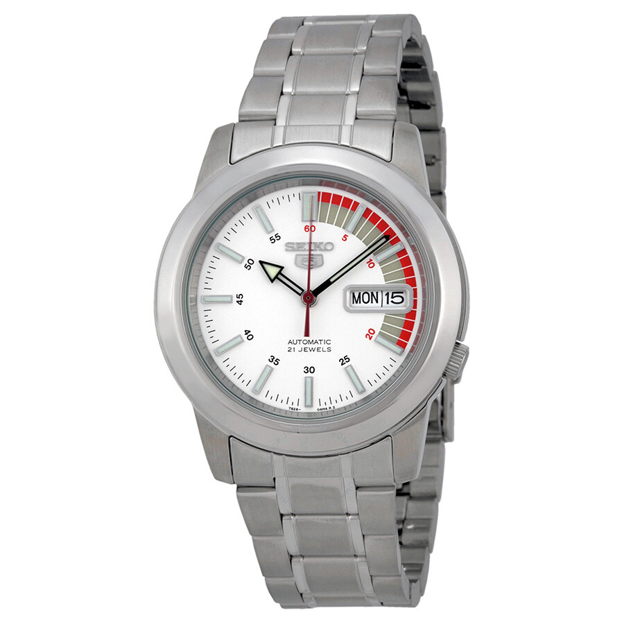 Seiko automatic stainless steel white dial men s watch