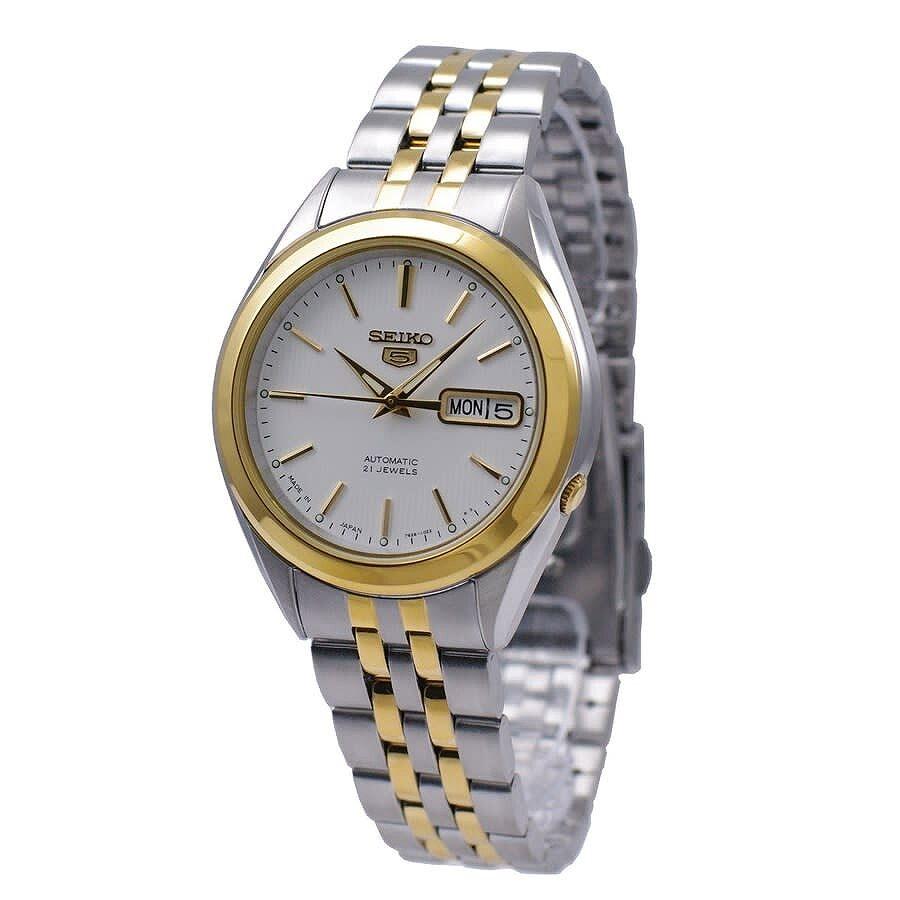 Seiko 5 Automatic White Dial Two Tone Men S Watch Snkl24j1 Seiko 5 Seiko Watches Jomashop