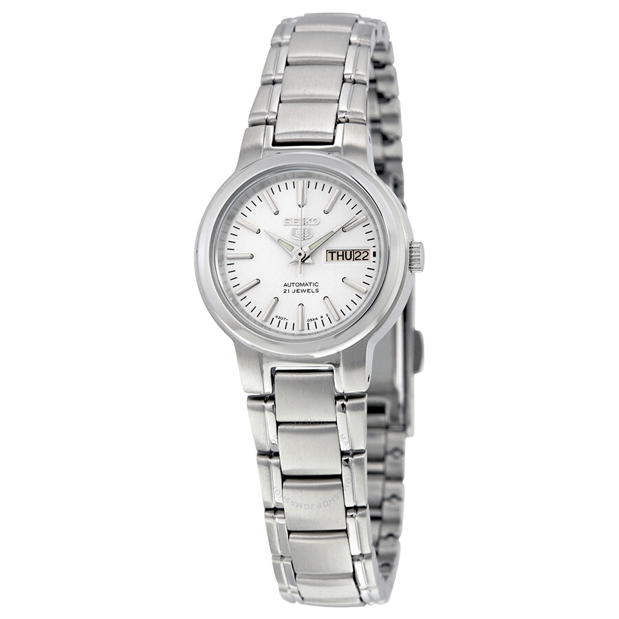 Seiko 5 Automatic White Dial Stainless Steel Ladies Watch Syme39