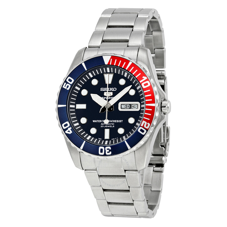 de8f9f3731e Seiko 5 Dark Blue Dial Diver Stainless Steel Automatic Pepsi Bezel Men s  Watch SNZF15 ...