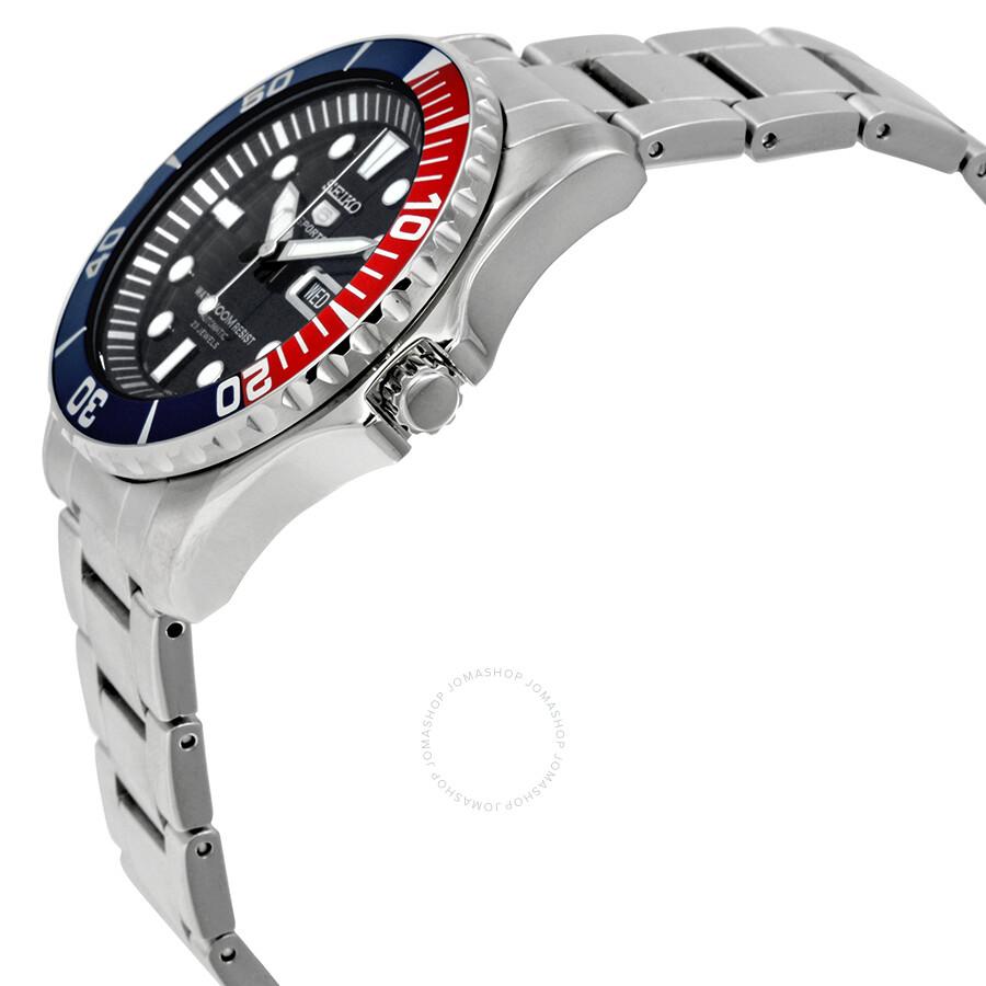 3ca4c04deb74e ... Seiko 5 Dark Blue Dial Diver Stainless Steel Automatic Pepsi Bezel  Men s Watch SNZF15 ...