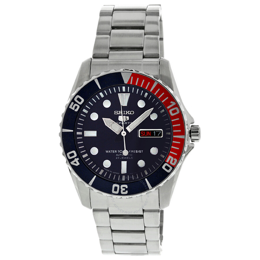 5b8a79653b4 Seiko 5 Automatic Dark Blue Dial Stainless Steel Pepsi Bezel Men s Watch  SNZF15J1