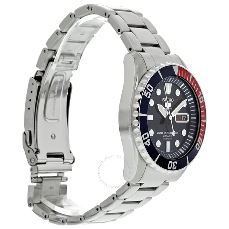 b22c048322dc2 Seiko 5 Automatic Dark Blue Dial Stainless Steel Pepsi Bezel Men s Watch  SNZF15J1