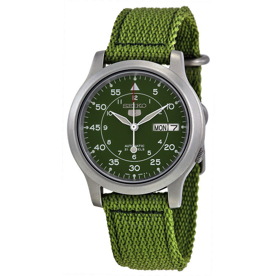 Seiko 5 Green Dial Green Canvas Men's Watch SNK805