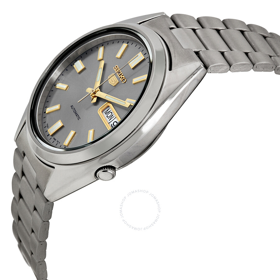 seiko 5 automatic grey dial stainless steel men 39 s watch. Black Bedroom Furniture Sets. Home Design Ideas