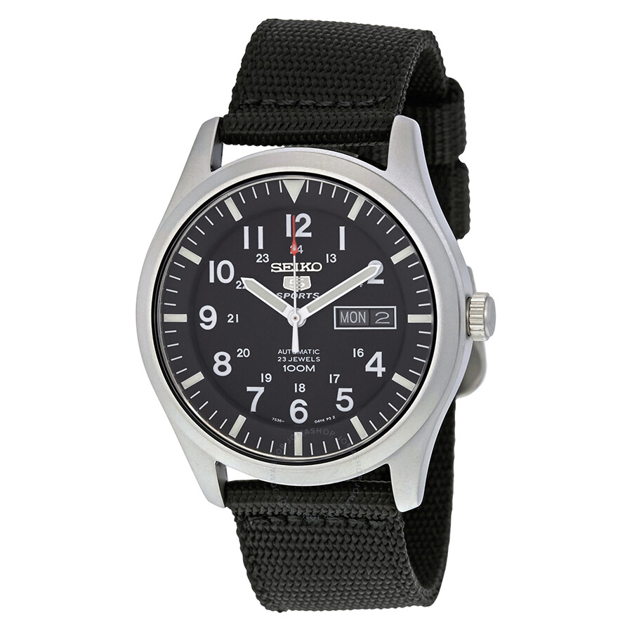 Seiko 5 Sport Automatic Black Canvas Men S Watch Snzg15