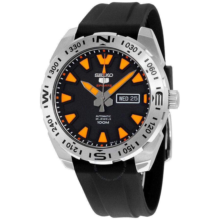 7a92ffd86 Seiko 5 Sport Automatic Black Dial Black Rubber Men's Watch SRP741 ...