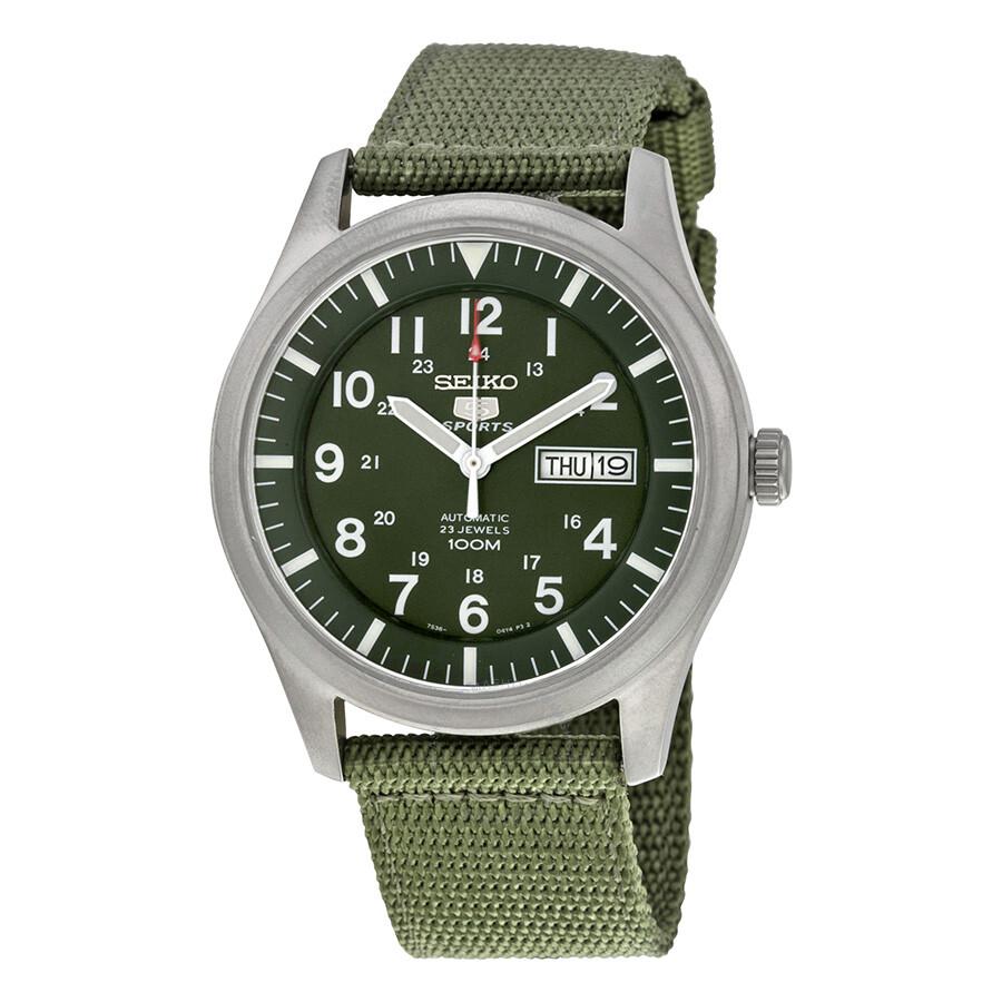 Seiko 5 Sport Automatic Khaki Green Canvas Men S Watch Snzg09