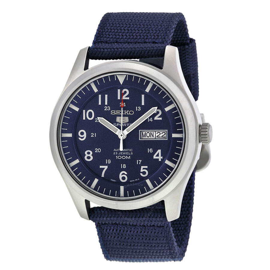 seiko 5 sport automatic navy blue canvas s